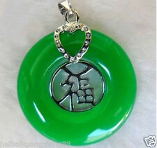"""Fashion Jewelry Real Green Jade """"Fu""""Pendant Necklace +chain"""