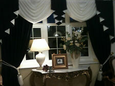DESIGNER CURTAINS SWAGS AND TAILS PLAIN  BLACK & WHITE  FULLY LINED
