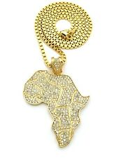 "NEW ICED OUT AFRICA MAP PENDANT &4mm/36"" BOX CHAIN HIP HOP NECKLACE - XP550BX"