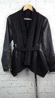 BNWT Religion Bravo Leather & Cotton Drape Jacket in Black RRP £220