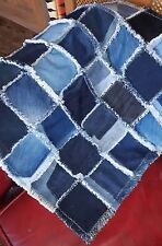 Patchwork Denim Blanket, Dog Blanket, Floor Mat, Rug, Denim Throw, Handmade