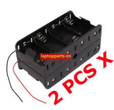 2 PCS x Hold 8 D Size Battery Holder Box 12V DC Case With Wire Lead