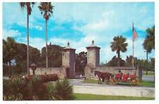 Vintage Florida Chrome Postcard St Augustine Old City Gates Horse Carriage Flag