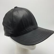 Vintage Black Leather Ball Cap Hat Adjustable Strapback Unbranded Made In  USA 56ec4297ada9