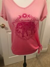 Fifth sun pink ombre lucky elephant astrology print caged back knotted top L @11