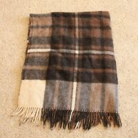 Samband of Iceland pure new wool plaid throw blanket camp brown cream 58 x 50