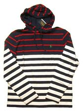 Polo Ralph Lauren Men's White/Navy Multi Striped Hooded T-Shirt
