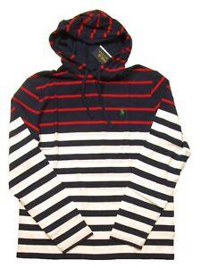 Polo Ralph Lauren Men's White/Navy Multi Striped Hooded T-Shirt