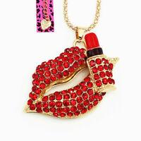 Women's Red Enamel Crystal Lips Lipstick Pendant Betsey Johnson Sweater Necklace