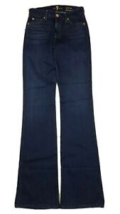 7 For All Mankind Women's Kimmie Boot Mid Rise Dark Blue Jeans 26 Tall