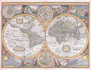 1675 A NEW AND ACCURAT MAP OF THE WORLD by John Speed & Bassett Chiswell