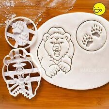 Set of 2 cookie cutters: Bear & Paw Prints | Conservation endangered wildlife