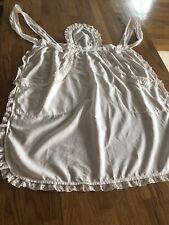 Antique Off-White Servant Cotton and Lace Edged Bib Apron Pinny