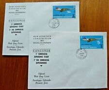 New/Nouvelles Hebrides 1976 Concorde 1st Flight English & French FDCs