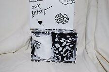NEW BETSEY JOHNSON SOCKS 2 PACK BLACK AND WHITE DICE LEOPARD GIFT BOX SET