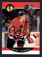 Trent Yawney #64 signed autograph auto 1990-91 Pro Set Hockey Trading Card