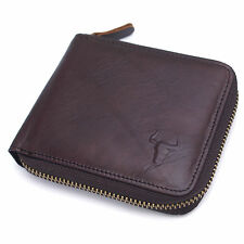 New Men's Vintage Brown Leather Zip Around Wallets Purse Coin Pocket Purse