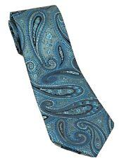 "Landisun of Himalaya Men Necktie Blue Black White Paisley 100% Silk 58"""