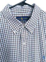 Polo Ralph Lauren Stretch Nylon Classic Fit Mens XL Brown Plaid Button Up Shirt