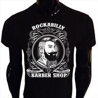 Rockabilly Barber T-Shirt Mens S-5XL Shop Hipster Beard Tee