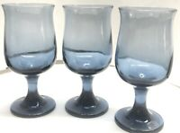 "Set of 3 Vintage Libbey Dusky Blue Tulip Wine Glasses - 5 5/8"" Tall"