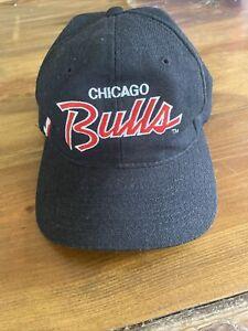 Vintage CHICAGO BULLS Snapback Hat NBA Script