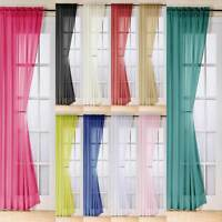 TRENT PLAIN VOILE CURTAIN PANEL READY MADE SLOT TOP PANEL ALL COLOURS ALL SIZES