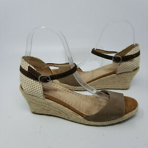 Pink Martini Brown Espadrilles Ankle Buckle Strap Wedge Heel Women Size 7/38