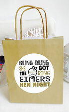 PERSONALISED BLING BLING HEN NIGHT PARTY BAGS, PARTY AVAILABLE IN 12 COLOURS