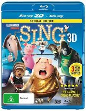 Sing (Blu-ray, 2017, 2-Disc Set) 3D & 2D NEW & SEALED SPECIAL EDITION ANIMATION
