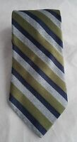"""Jos A Banks Signature Collection 100% Silk Tie Striped Green Blue Gray 62"""""""