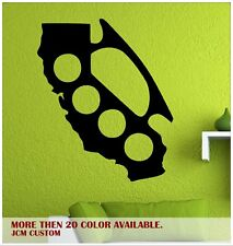 """California Map Cali State Brass Knuckles Removable Wall Vinyl Decal 22"""" X 26.4"""""""
