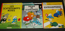 Lot - 3 French Smurf Comic Books Schtroumpfs  Hardcover Peyo VGC