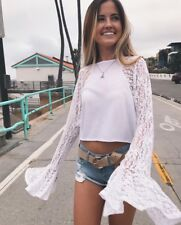 Last One! LF white crochet lace bell sleeve tee top NWT sz S
