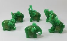 Feng Shui Set of 6 Green Elephant Trunk Statues Wealth Figurine Gift& Home Decor