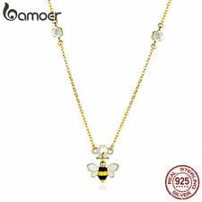 Collar de Oro Bamoer Mujer S925 esmalte de plata esterlina colgante de abeja Cubic Zirconia JOYERÍA