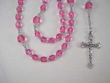 "Girls Pink Rose Rosary Catholic 16 1/2"" Czech Glass Beads Rosa Chica Rosario"