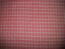 "Vintage Burgundy Green Beige Plaid Cotton or Blend Fabric 44"" x 2 7/8 Yds. (969)"