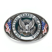 Western style U.S.A. American flag eagle metal alloy fashion Men Belt Buckle AE