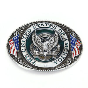 Western style New U.S.A. American flag eagle metal alloy fashion Men Belt Buckl!