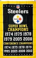 Pittsburgh Steelers 6x Super Bowl NFL Championship Flag 3x5 ft Sports Banner New