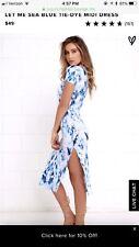 NEW LULUS BLUE TIE DYE DRESS SMALL S WHITE NAVY SOFT STRETCHY SLIT