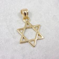 Solid 10K Yellow Gold Star of David Pendant Medallion, 1.2 grams, Jewish