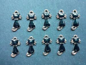 10 x Black Enamel Cat Kitten Feline Charms,12 x 21 mm, Jewellery Making, UK