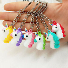 1x Kawaii Rubber Unicorn Key Chain Handbag Pendant Purse Keyrings Kids Party Toy