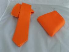 "< New >Neon Shiny Orange Polyester Mens Skinny Tie and Hankie Set -2.5"" = 6cm"