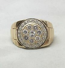 Vintage 1.45ct ROLX Style 14K Yellow Gold Men's Cluster RING
