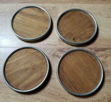 4 Vintage Royal Holland Pewter Teak Coasters mcm