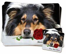 Irregular collie + Rosa 'Love You Mum' Individual 2x Manteles + 2x Posavasos