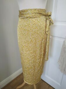 New Never Fully Dressed 8 Jaspre yellow floral Midi Wrap Skirt BNWT